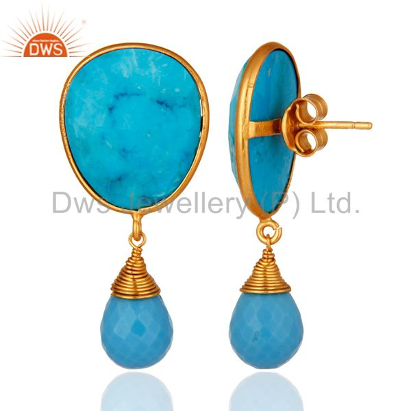 Suppliers 14-Karat Gold Plated Sterling Silver Faceted Turquoise Gemstone Dangle Earrings