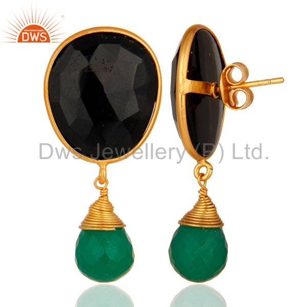 Suppliers 18-Carat Gold Plated Sterling Silver Genuine Green Onyx And Black Onyx Earrings