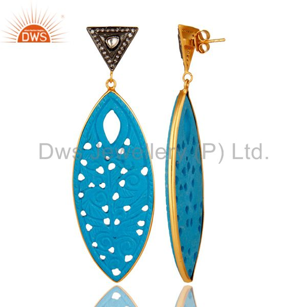 Suppliers 18K Gold Plated Sterling Silver CZ & Turquoise Gemstone Carved Dangle Earrings