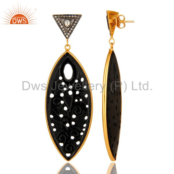 Suppliers 18K Gold Plated Sterling Silver Black Onyx Carved And cz Dangle Earrings