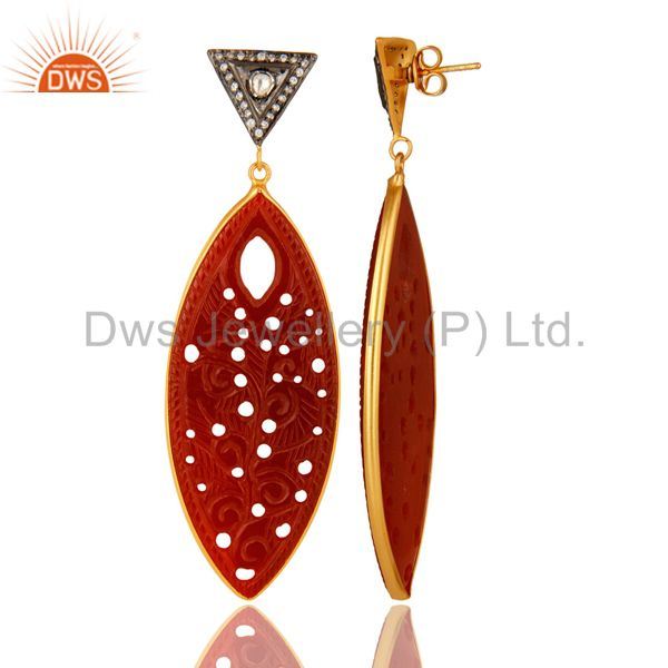 Suppliers Carved Red Onyx Gemstone And CZ Dangle Earrings In 18K Gold Over Sterling Silver