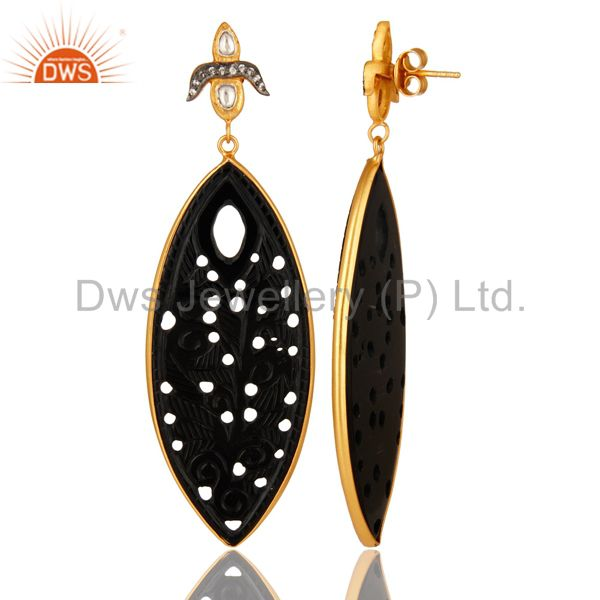 Suppliers Black Onyx Gemstone Carving Bezel Set Dangle Earrings In 18K Gold On Silver