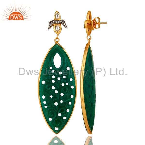 Suppliers 18K Gold Over Silver Green Onyx Gemstone Carving Bezel Set Dangle Earrings