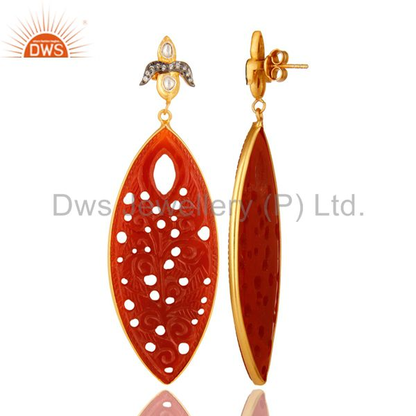 Suppliers 18K Gold Plated Sterling Silver Red Onyx Gemstone Carved Dangle Earrings