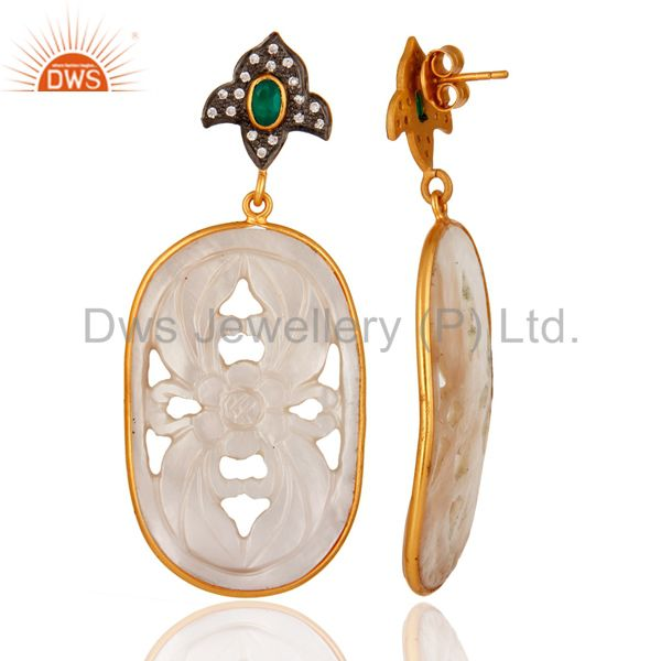 Suppliers Green Onyx And CZ 925 Silver Carved Mother of Pearl Earrings - Gold Plated