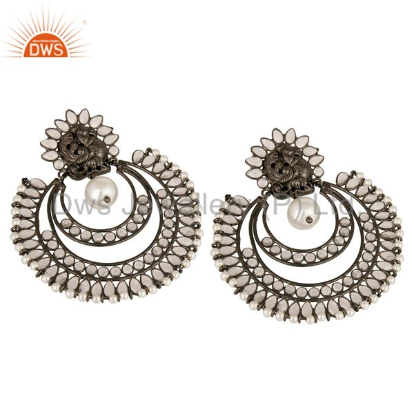 Suppliers Handmade 925 Sterling Silver Designer Earrings With White Pearl And CZ
