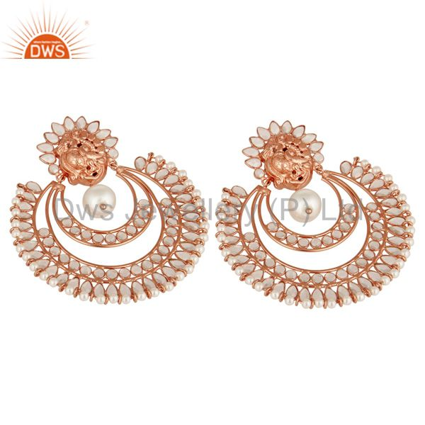 Suppliers Indian Rose Gold Plated Sterling Silver Natural Pearl And White Zircon Earrings