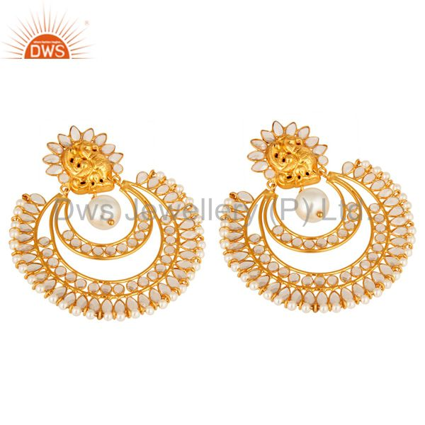 Suppliers 18k Yellow Gold-Plated Sterling Silver Cubic Zirconia And Pearl Desinger Earring