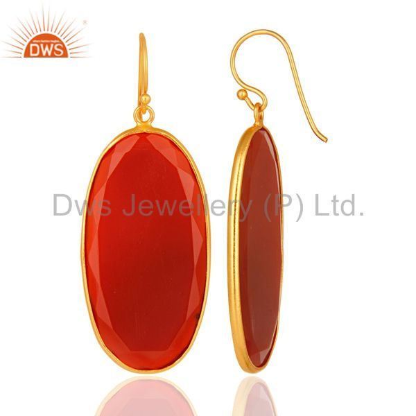 Suppliers Faceted Red Onyx Gemstone Bezel-Set Sterling Silver Earrings - Gold Plated