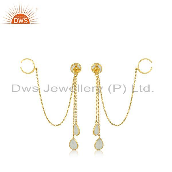 Suppliers Aqua Chalcedony Gemstone Silver Gold Plated Earrings Jewelry Supplier