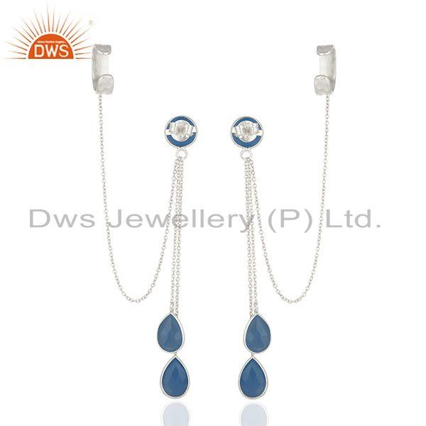 Suppliers Blue Chalcedony Gemstone 925 Sterling Silver Ear Cuff Earrings Suppliers