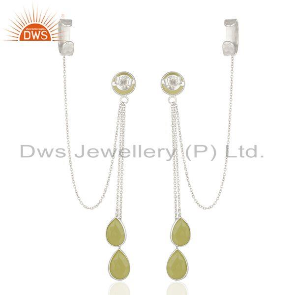 Suppliers Yellow Chalcedony Gemstone 925 Fine Silver Ear Cuff Earrings Manufacturer