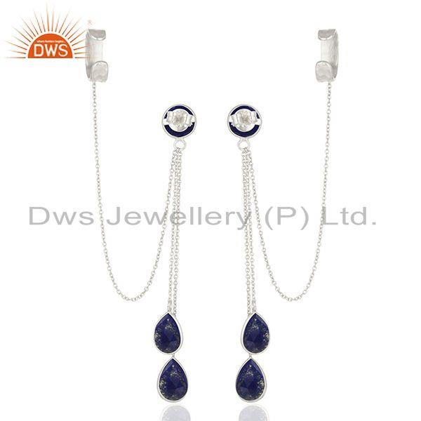 Suppliers Lapis Lazuli Gemstone 925 Silver Ear Cuff Earrings Manufacturers