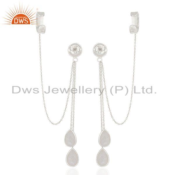 Suppliers Rainbow Moonstone 925 Silver Ear Cuff Earrings Manufacturer of Wedding Jewelry