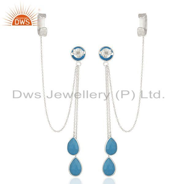 Suppliers Matrix Turquoise Gemstone 925 Silver Ear Cuff Earrings Manufacturers