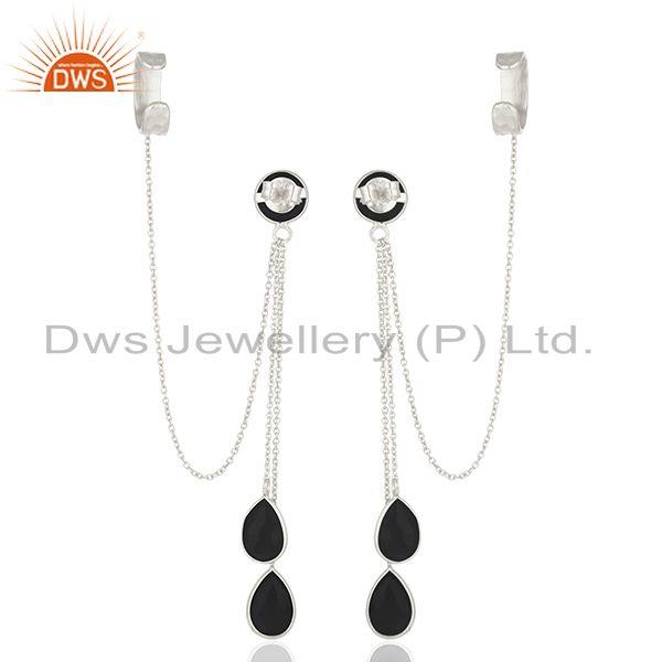 Suppliers Black Onyx Gemstone 925 Sterling Silver Ear Cuff Earrings Manufacturer India