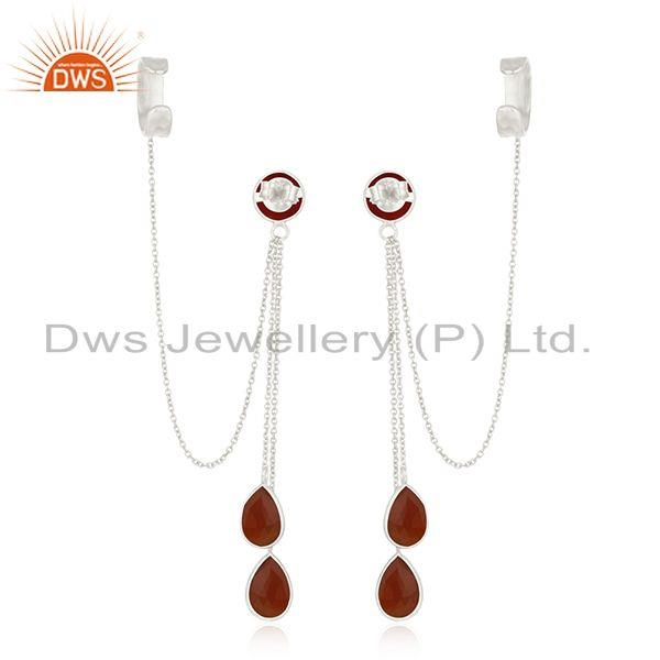 Suppliers Red Onyx Gemstone Fine Sterling Silver Designer Ear Cuff Earrings Manufacturer
