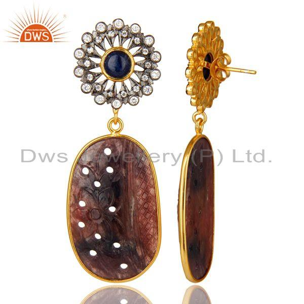 Suppliers 22K Gold Plated Sterling Silver Multi Sapphire Carved Dangle Earrings With CZ