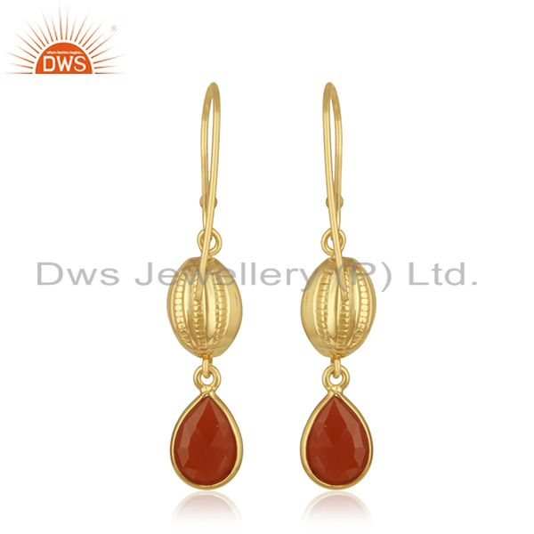 Suppliers 14k Gold Plated Sterling Silver Natural Red Onyx Gemstone Drop Earrings