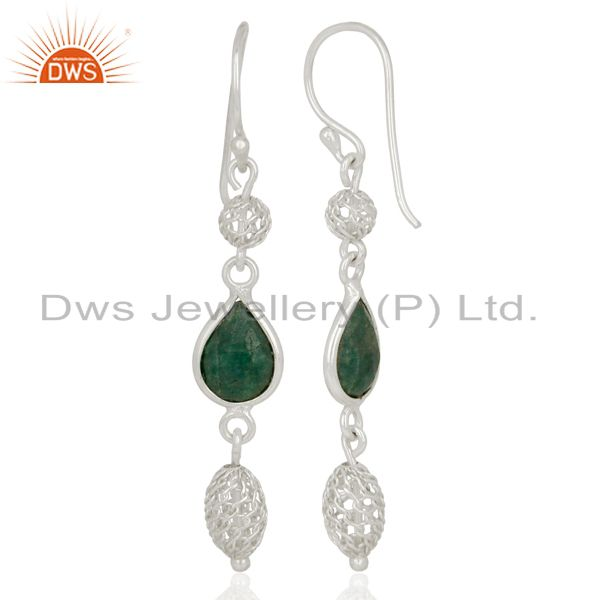 Suppliers 925 Sterling Silver Dyed Emerald Green Corundum Gemstone Dangle Earrings