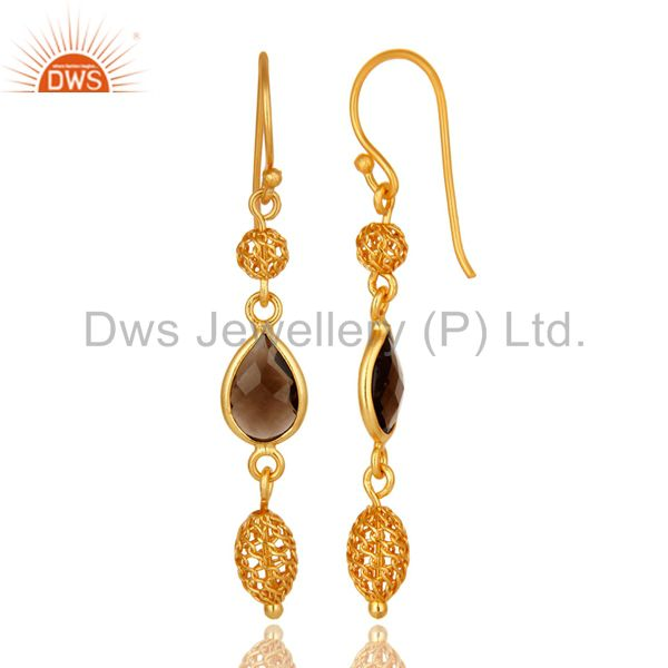 Suppliers 18K Yellow Gold Over Sterling Silver Natural Smoky Quartz Dangle Earrings