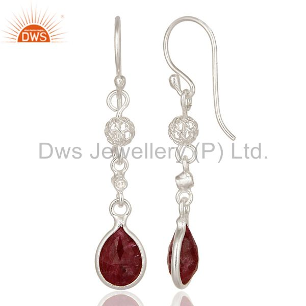 Suppliers Designer Ruby Red Corundum 925 Sterling Silver Dangle Earrings