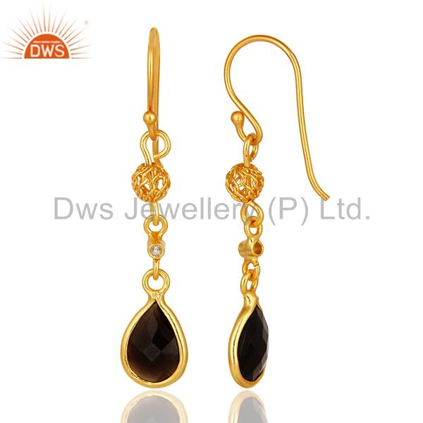 Suppliers 18K Yellow Gold Plated Sterling Silver Smoky Quartz And White Topaz Earrings
