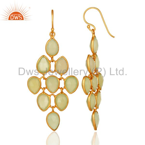 Suppliers Faceted Green Chalcedony Chandelier Earrings Made In 18K Gold On Sterling Silver