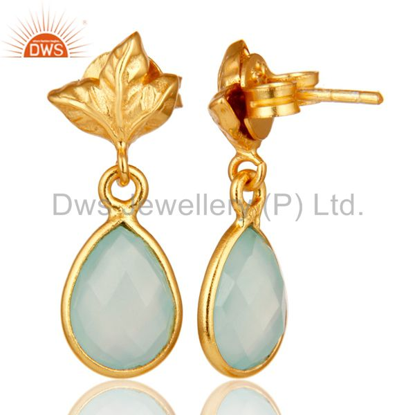 Suppliers 18K Gold Plated Sterling Silver Aqua Chalcedony Dangle Drop Stud Earring