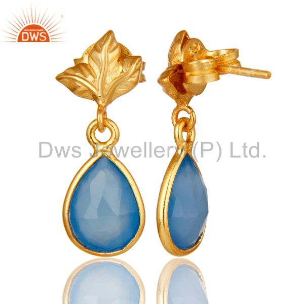 Suppliers 18K Gold Plated Sterling Silver Blue Chalcedony Dangle Drop Stud Earring