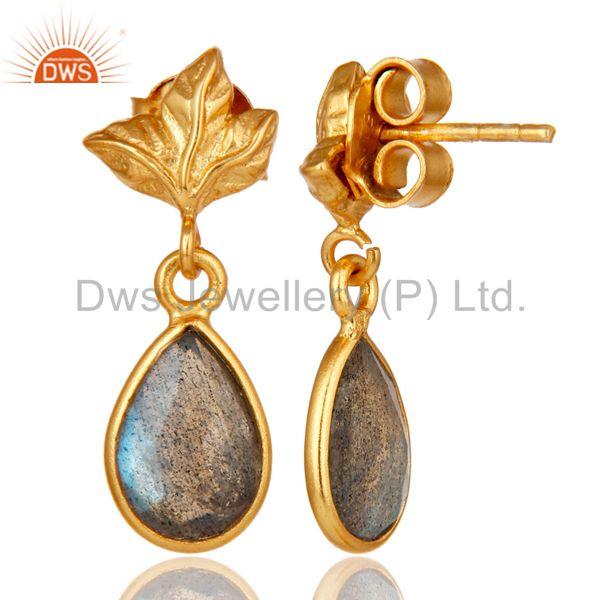 Suppliers 18K Gold Plated Sterling Silver Natural Labradorite Dangle Drop Stud Earrings