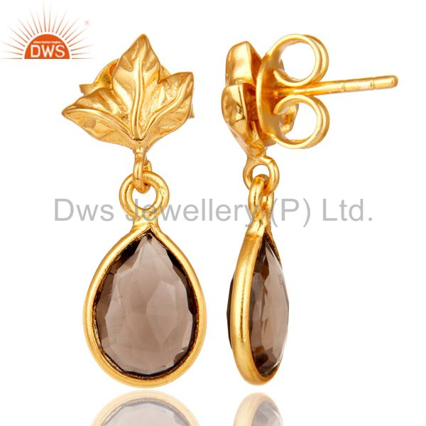 Suppliers 18K Gold Plated Sterling Silver Smokey Quartz Dangle Drop Stud Earring