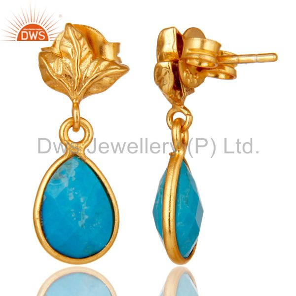 Suppliers 18K Gold Plated Sterling Silver Turquoise Dangle Drop Stud Earring