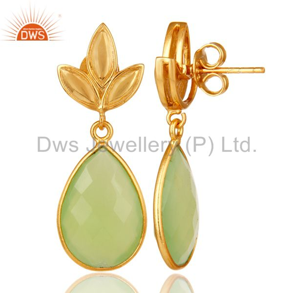 Suppliers Prehnite Chalcedony Leaf Stud Gold Plated Wholesale Drop Sterling Silver Jewelry
