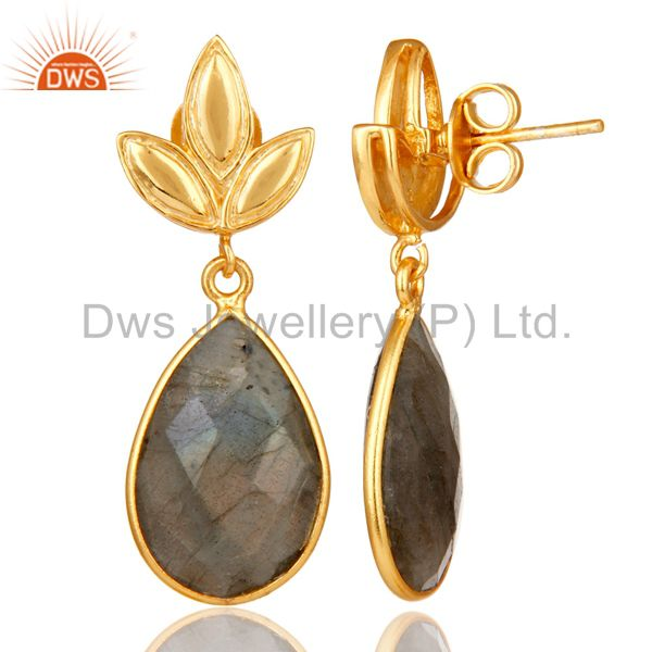 Suppliers Labrodorite Leaf Stud Gold Plated Wholesale Drop Sterling Silver Jewelry