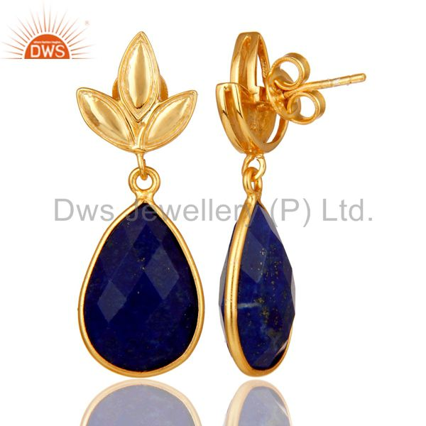 Suppliers Lapis Leaf Stud Gold Plated Wholesale Drop Sterling Silver Jewelry
