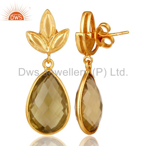 Suppliers Lemon Topaz Leaf Stud Gold Plated Wholesale Drop Sterling Silver Jewelry