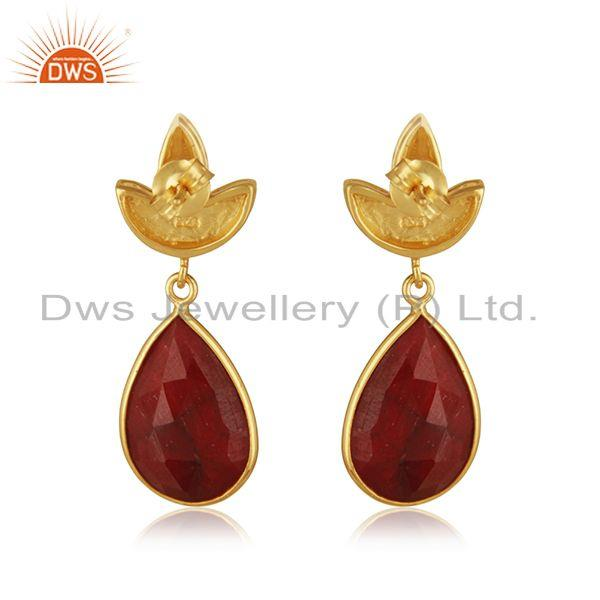Suppliers Designer Gold Plated Silver Natural Ruby Earring Jewelry