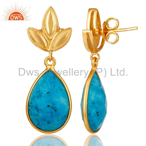Suppliers Turquoise Leaf Stud Gold Plated Wholesale Drop Sterling Silver Jewelry