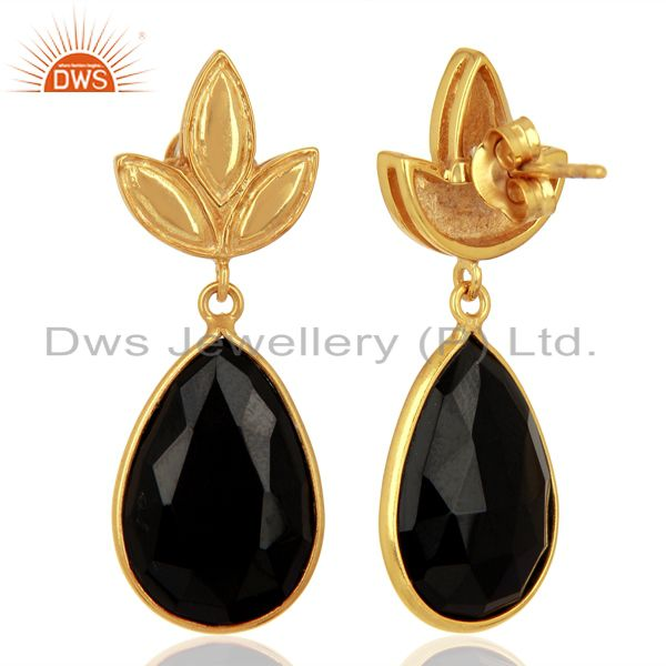 Suppliers Gold Plated 925 Silver Natural Black Onyx Gemstone Earrings Supplier