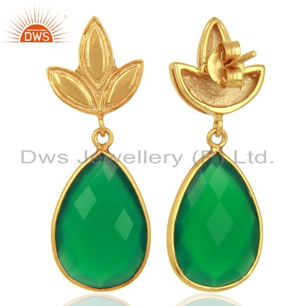 Suppliers Yellow Gold Plated Silver Green Onyx Gemstone Earrings Manufacturer