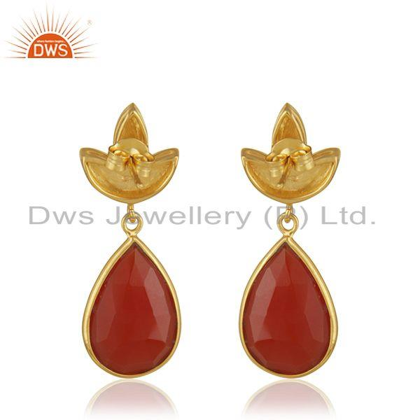 Suppliers Gold Plated Sterling Silver Red Onyx Gemstone Designer Earrings Jewellery India