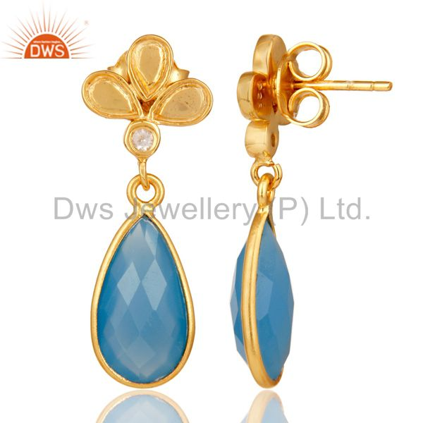 Suppliers 18K Gold Plated Blue Chalcedony and White Topaz Sterling Silver Dangle Earring