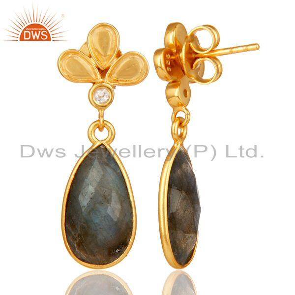 Suppliers 18K Gold Plated Labradorite and White Topaz Sterling Silver Dangle Earring