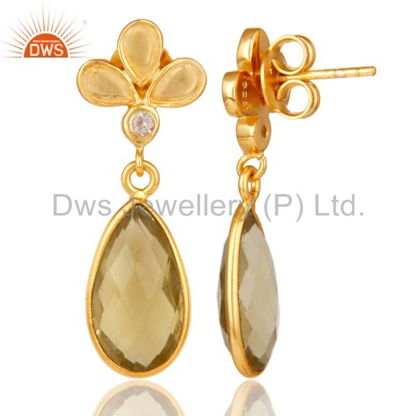 Suppliers 18K Gold Plated Lemon Topaz and White Topaz Sterling Silver Dangle Earring