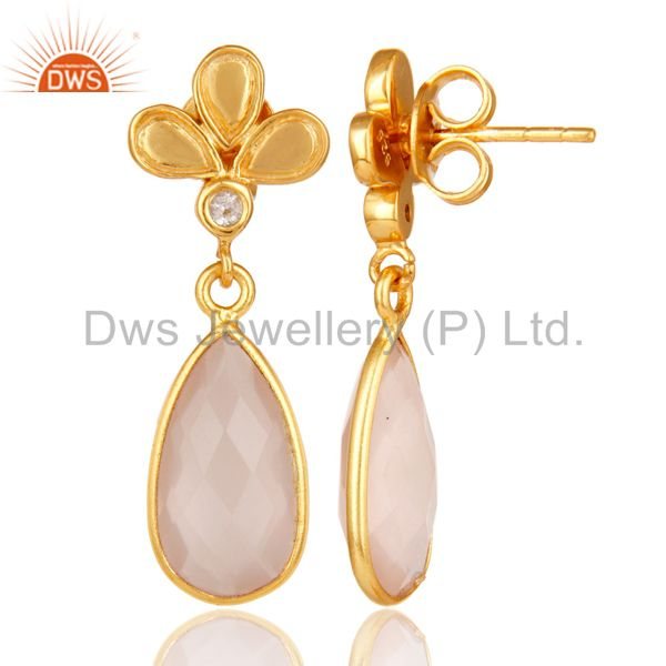 Suppliers 18K Gold Plated Rose Chalcedony and White Topaz Sterling Silver Dangle Earring