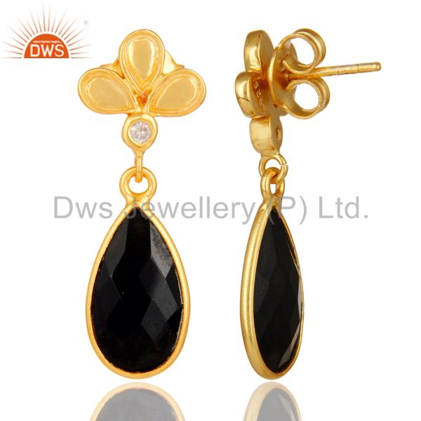 Suppliers 18K Gold Plated Black Onyx and White Topaz Sterling Silver Dangle Earring