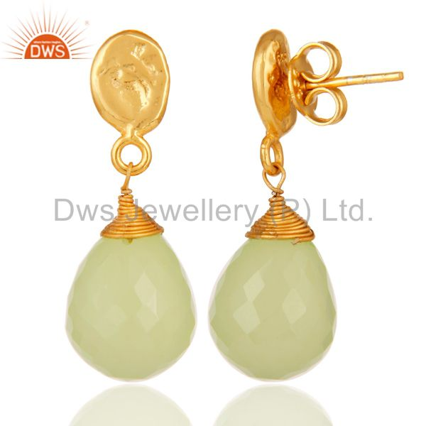 Suppliers Prehnite Chalcedony 18K Gold Plated Sterling Silver Drop Earring