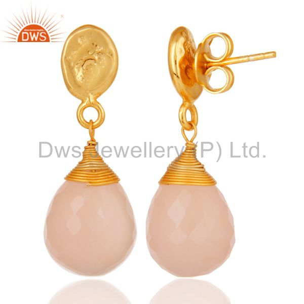 Suppliers Rose Chalcedony 18K Gold Plated Sterling Silver Drop Earring