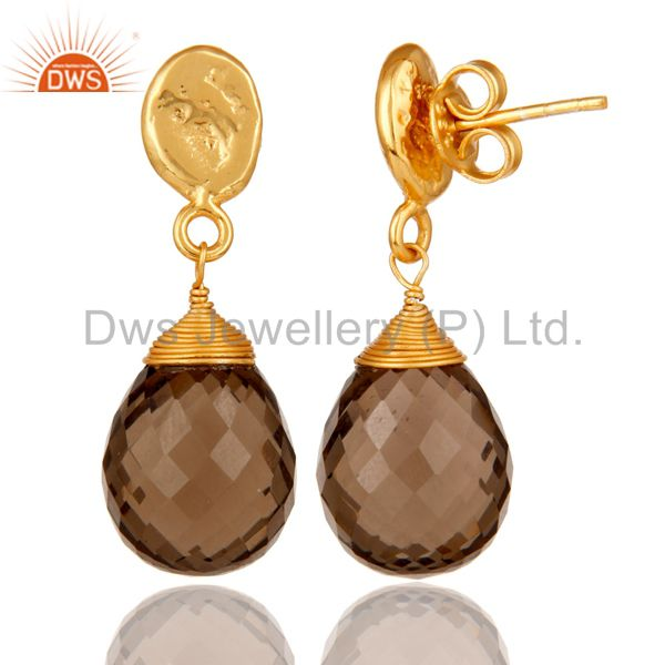 Suppliers Smokey Quartz 18K Gold Plated Sterling Silver Drop Earring